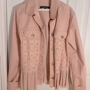 baby pink jean jacket with lace on sides/back